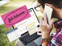 Conceito da programação de Job Interview Recruitment Human Resources imagem de stock