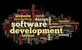 Conceito da programação de software na nuvem da etiqueta ilustração royalty free