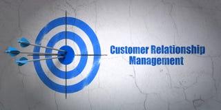 Conceito da propaganda: alvo e gerenciamento de relacionamento com o cliente no fundo da parede Fotografia de Stock Royalty Free