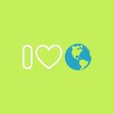 Conceito da proteção ambiental Eu amo a terra Cartaz do Dia da Terra Fotografia de Stock