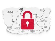 Conceito da proteção: Cadeado fechado no papel rasgado Imagens de Stock Royalty Free