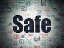 Conceito da proteção: Cofre forte no fundo do papel dos dados de Digitas ilustração do vetor