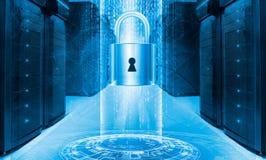 Conceito da proteção de dados do servidor Seguro do base de dados Segurança da informação da tecnologia digital do Internet do cy fotografia de stock