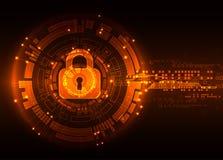 Conceito da proteção de digital e de tecnologico Proteja o mechani ilustração stock