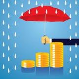 Conceito da proteção do seguro Homem de negócios e guarda-chuva Vetor Imagem de Stock Royalty Free