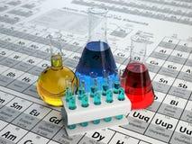 Conceito da química da ciência Tubos e garrafas de análise laboratorial com Imagem de Stock