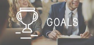 Conceito da realização da estratégia do sucesso do alvo dos objetivos Fotos de Stock Royalty Free