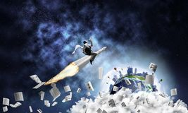 Conceito da realização do sucesso comercial e dos alvos Imagens de Stock Royalty Free
