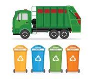 Conceito da reciclagem de resíduos da cidade com o caminhão de lixo isolado no whit Fotografia de Stock