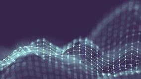 conceito da rede do fundo do sumário 3d Ilustração futura da tecnologia do fundo paisagem 3d Dados grandes Wireframe Fotografia de Stock Royalty Free