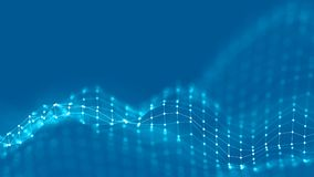 conceito da rede do fundo do sumário 3d Ilustração futura da tecnologia do fundo paisagem 3d Dados grandes Wireframe Imagens de Stock Royalty Free