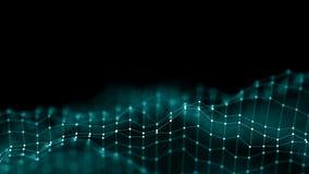 conceito da rede do fundo do sumário 3d Ilustração futura da tecnologia do fundo paisagem 3d Dados grandes Wireframe imagem de stock royalty free
