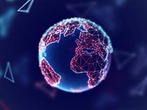 Conceito da rede global: terra digital do planeta com linhas da conexão ilustração royalty free