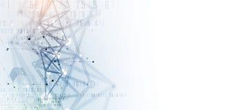 Conceito da rede neural Pilhas conectadas com relações Technol alto ilustração do vetor