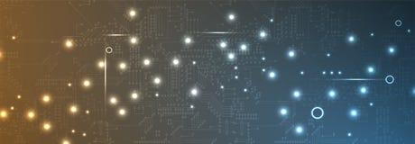 Conceito da rede neural Pilhas conectadas com relações Technol alto Foto de Stock