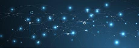 Conceito da rede neural Pilhas conectadas com relações Technol alto Fotos de Stock