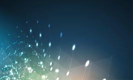 Conceito da rede neural Pilhas conectadas com relações Technol alto Imagem de Stock Royalty Free