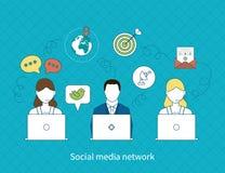 Conceito da rede social dos meios Imagens de Stock