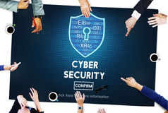 Conceito da relação do guarda-fogo da proteção de segurança do Cyber ilustração royalty free