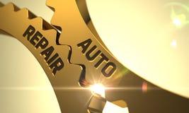 Conceito da reparação de automóveis Engrenagens metálicas douradas 3d Imagens de Stock Royalty Free