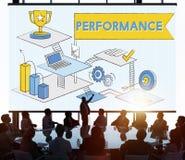 Conceito da revisão da eficiência da melhoria do nível de desempenho foto de stock