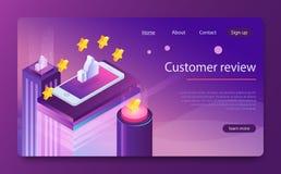 Conceito da revisão do cliente Estrelas douradas de avaliação Feedback, reputação e conceito da qualidade ilustração stock