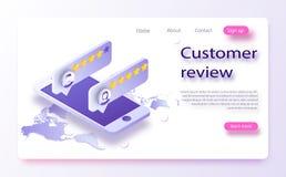 Conceito da revisão do cliente Feedback, reputação e conceito da qualidade Avaliação da revisão na ilustração do vetor do telefon ilustração stock