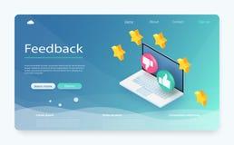 Conceito da revisão do cliente Feedback, reputação e conceito da qualidade Feedback ou bandeira de avaliação do conceito ilustração stock