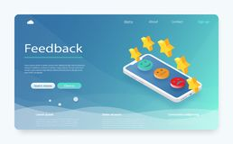 Conceito da revisão do cliente Feedback, reputação e conceito da qualidade Feedback ou bandeira de avaliação do conceito ilustração royalty free