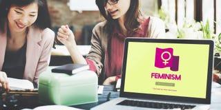 Conceito da revolução da independência dos direitos das mulheres do feminismo imagem de stock
