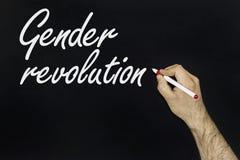 Conceito da revolução do gênero Texto escrito no quadro-negro imagem de stock