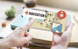 Conceito da rota de GPS do transporte da posição da navegação do mapa Foto de Stock