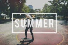 Conceito da ruptura de abrandamento do feriado do divertimento das férias de verão Fotos de Stock Royalty Free