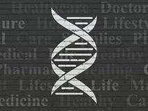 Conceito da saúde: ADN no fundo da parede ilustração stock