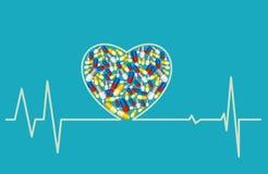 Conceito da saúde - coração, comprimidos Fotografia de Stock