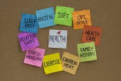 Conceito da saúde - nuvem de palavras e de tópicos relacionados Imagem de Stock