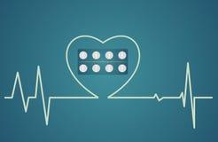 Conceito da saúde - o símbolo do coração consiste nos comprimidos, projeto liso Imagem de Stock Royalty Free