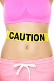 Conceito da saúde do estômago que mostra a barriga da mulher Fotos de Stock Royalty Free