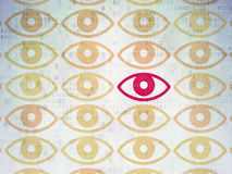 Conceito da segurança: ícone do olho no papel de Digitas Fotos de Stock