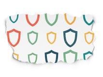 Conceito da segurança: Ícones contornados do protetor no rasgado Imagens de Stock Royalty Free