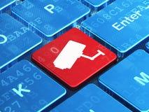 Conceito da segurança: Câmera do Cctv no fundo do teclado de computador Fotografia de Stock