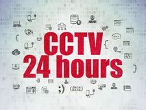 Conceito da segurança: CCTV 24 horas no papel de Digitas Fotografia de Stock