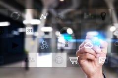 Conceito da segurança da proteção de dados e do cyber na tela virtual Fotos de Stock Royalty Free
