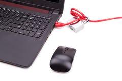 Conceito da segurança da rede informática com o cadeado sobre a rede c Imagem de Stock Royalty Free