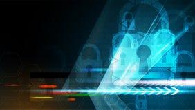 Conceito da segurança da tecnologia Fundo digital da segurança moderna ilustração stock