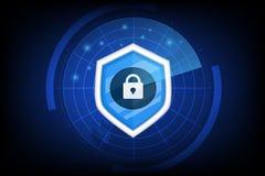 Conceito da segurança do cyber com vetor chave do ícone no fundo escuro imagens de stock royalty free