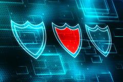 Conceito da segurança do Cyber, conceito da segurança do Internet, protetor no fundo digital Imagem de Stock