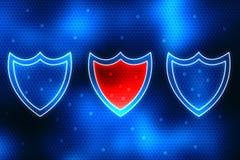 Conceito da segurança do Cyber, conceito da segurança do Internet, protetor no fundo digital Imagens de Stock Royalty Free