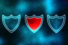 Conceito da segurança do Cyber, conceito da segurança do Internet, protetor no fundo digital Foto de Stock Royalty Free