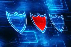 Conceito da segurança do Cyber, conceito da segurança do Internet, protetor no fundo digital Foto de Stock